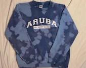 Upcycled Tie Dye Aruba Pullover Crewneck Sweatshirt