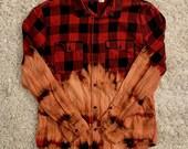 Half Bleach Dye Flannel Shirt