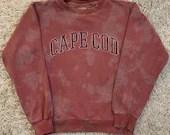 Upcycled Red Tie-Dye Cape Cod Crewneck Sweatshirt