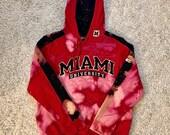 Upcycled Tie Dye Miami University XL Red Hoodie Sweatshirt