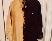 Upcycled Two-Tone Vintage Nordstrom Suede Button-Down