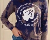 Upcycled Tie Dye Montauk Brewing Company Long Sleeved T-Shirt