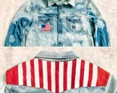 Upcycled Tie Dye Bleached Denim Shirt w/ American Flag Embroidered Patch & Painted Stripes