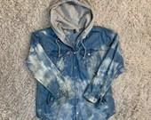 Upcycled H&M Bleach Tie Dyed Denim Shirt w/ Sweatshirt Hood