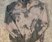 Upcycled Gray Tie Dye Nantucket Quarter Zip Sweatshirt