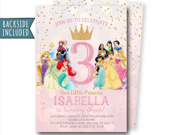 disney princess invitation etsy