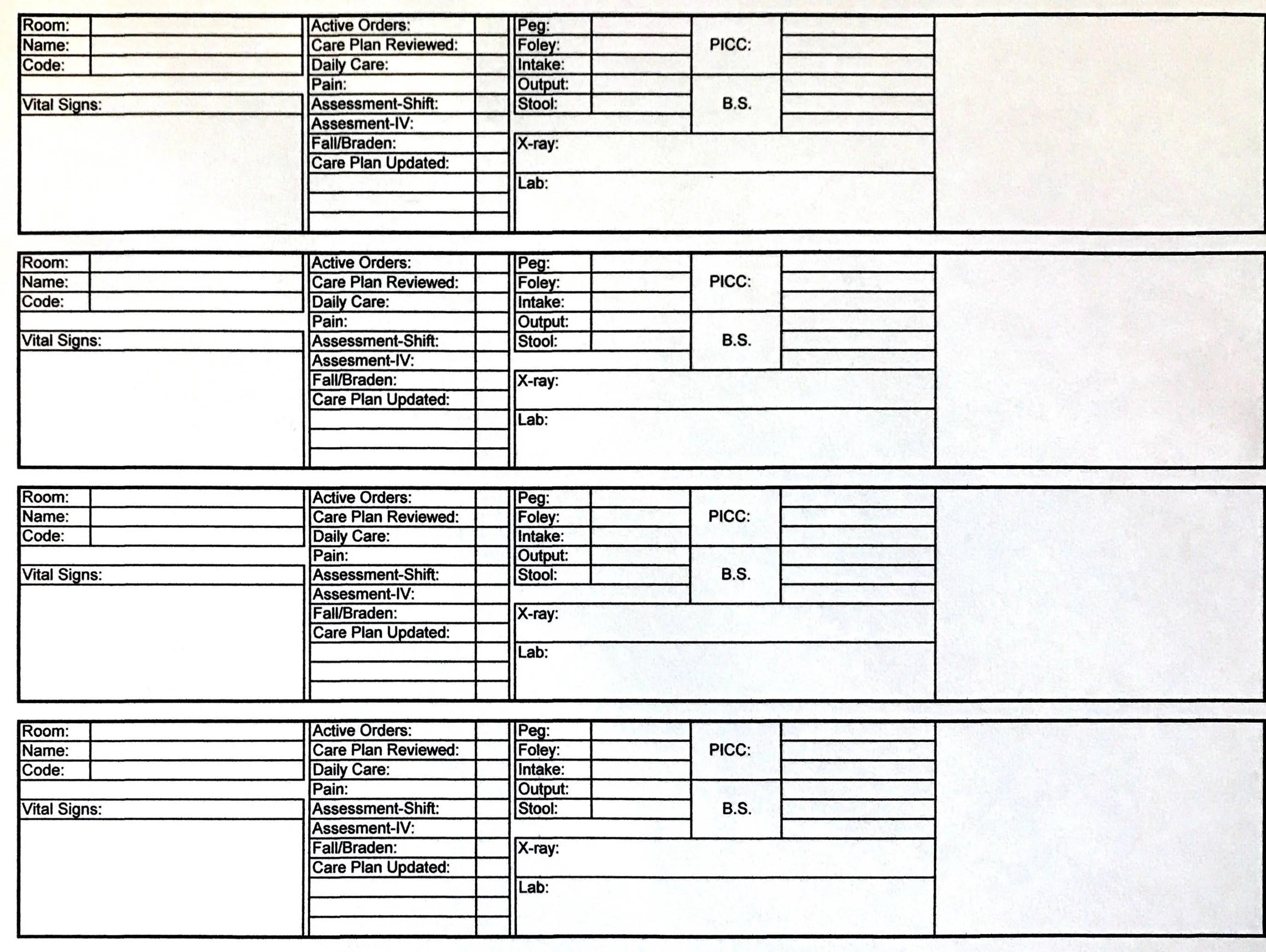 Nursing Report Sheet Shift To Shift Daily Nursing