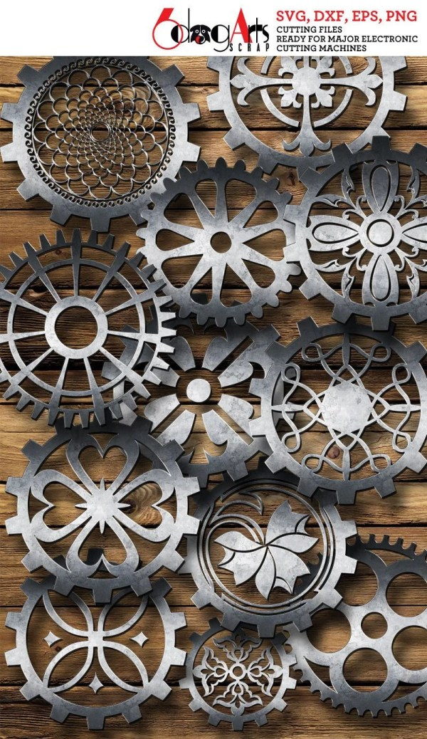 Steampunk Cogs And Gears Vector Digital Cut Files Svg