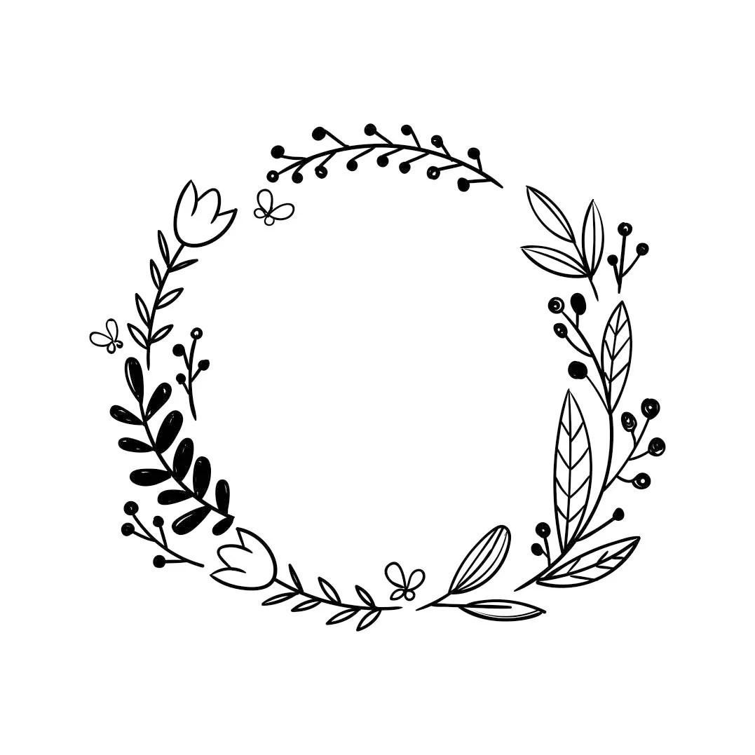 Frame Wedding Flower Vinyl Graphics Svg Dxf Eps Cdr Ai