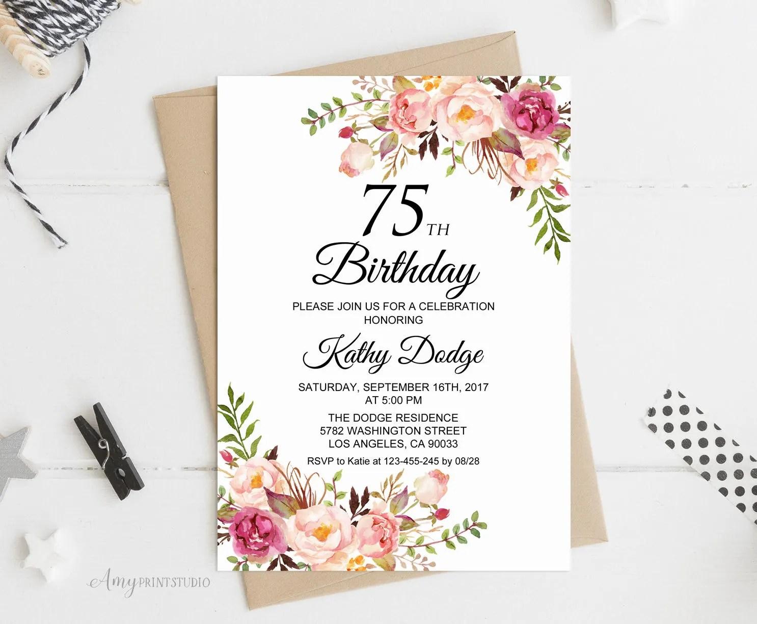 75th birthday invite etsy