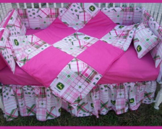 7 piece Pink John Deere Crib Set by GraciegirlGifts