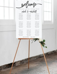 Modern large wedding seating chart template printable poster editable sign wp also etsy rh