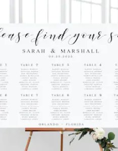 Elegant large wedding seating chart template printable poster editable sign wp also etsy rh