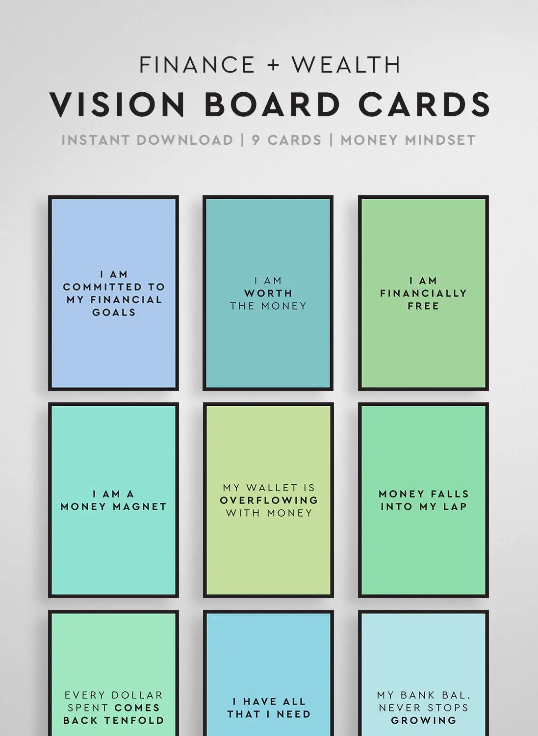 Affirmation Cards Vision Board Printable Vision Board