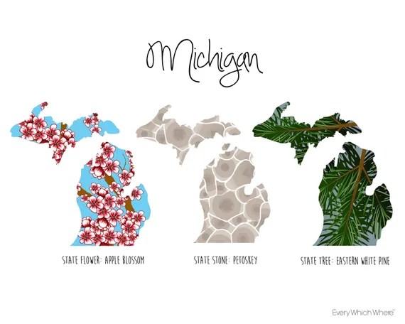 Michigan State Symbols Etsy