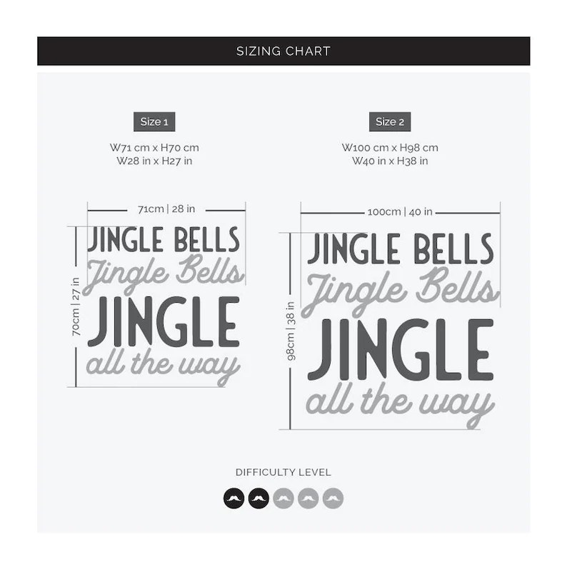 Jingle Bells Christmas Shop Window Decal Removable Retail