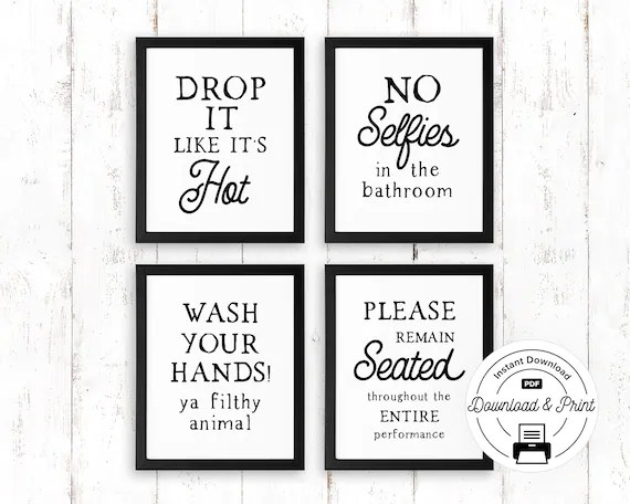 Funny Bathroom Sign Set Of 4 Instant Download Funny Etsy