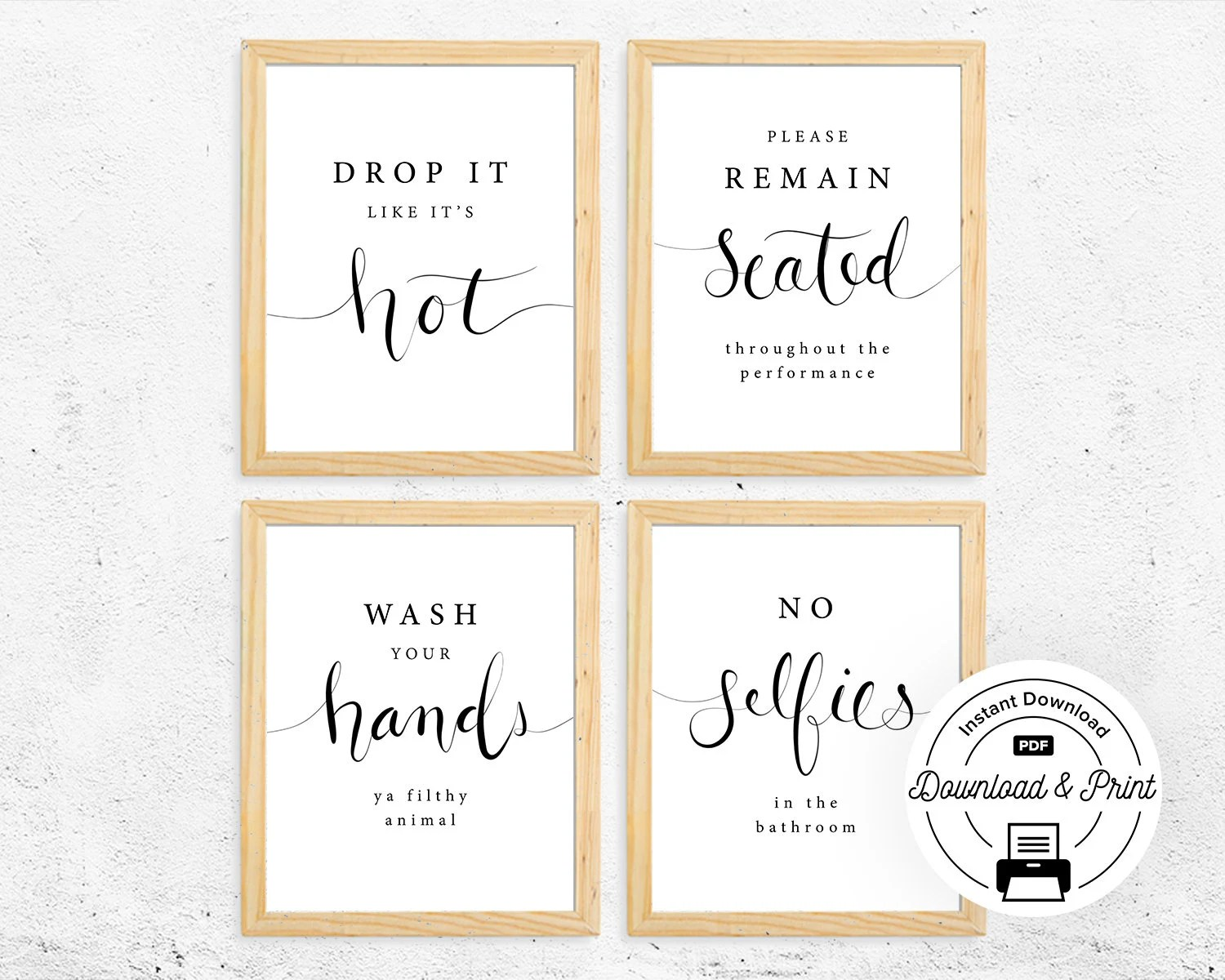 Funny Bathroom Signs Set Of 4 Instant Download Funny Etsy
