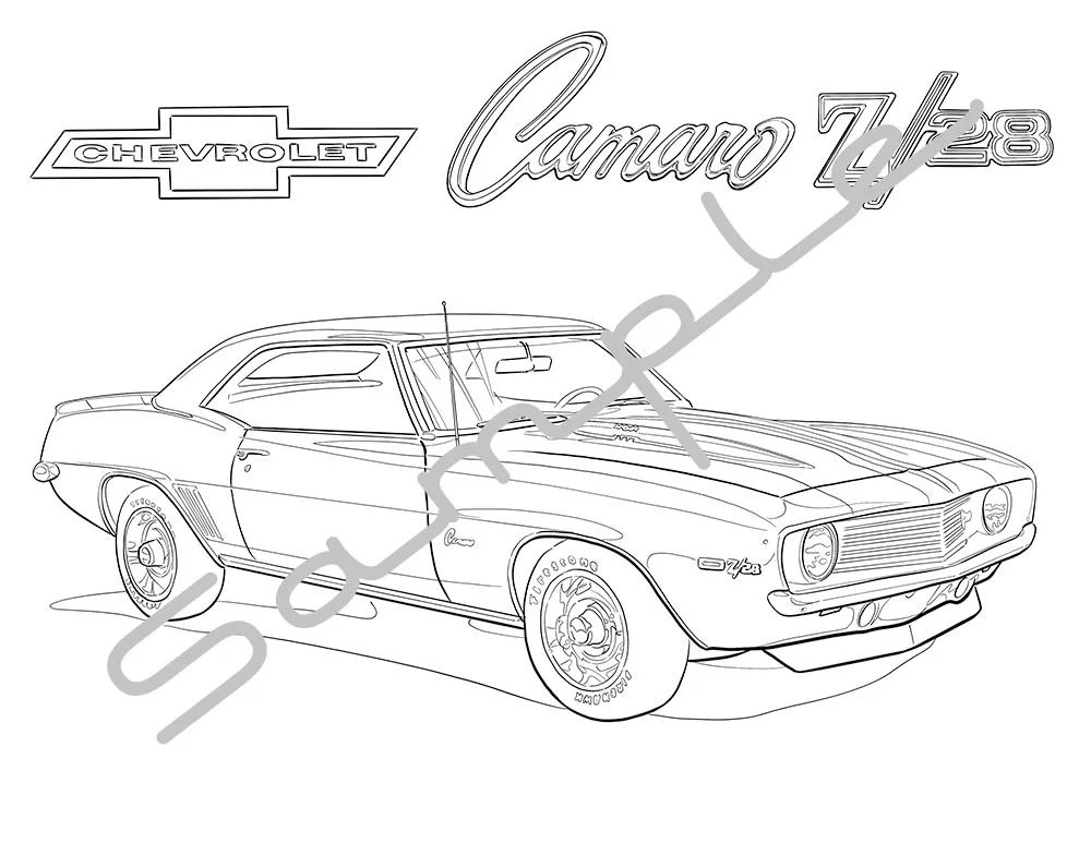 1971 AMC JAVELIN AMX Adult Coloring Page Printable Coloring