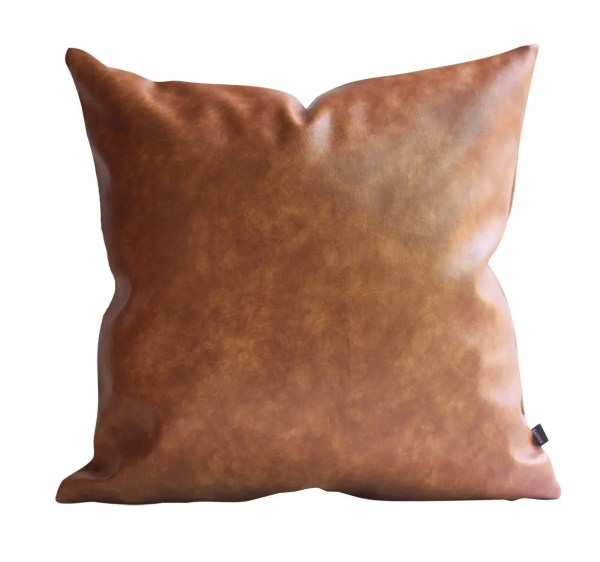 Cognac Brown Faux Leather Throw Pillow Cover Tan