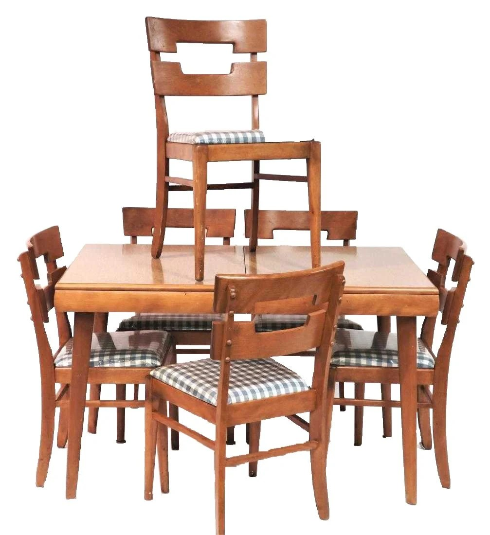 Heywood Wakefield Dining Chairs Mid Century Dining Table Set By Heywood Wakefield A Set Of Seven