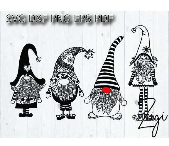 Christmas gnome svg gnome mandala zentangle Santa sack cut