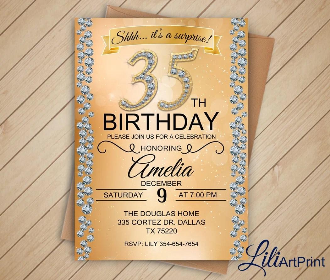 brilliants 35th birthday invitation any age birthday invite brilliants birthday invitation digital file w 33