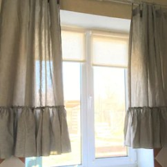 Kitchen Curtain Sets Unfinished Table Curtains Etsy Linen Set Ruffle Farmhouse Cafe Shabby Chic
