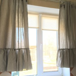 Kitchen Curtain Sets Home Depot Refacing Curtains Etsy Linen Set Ruffle Farmhouse Cafe Shabby Chic