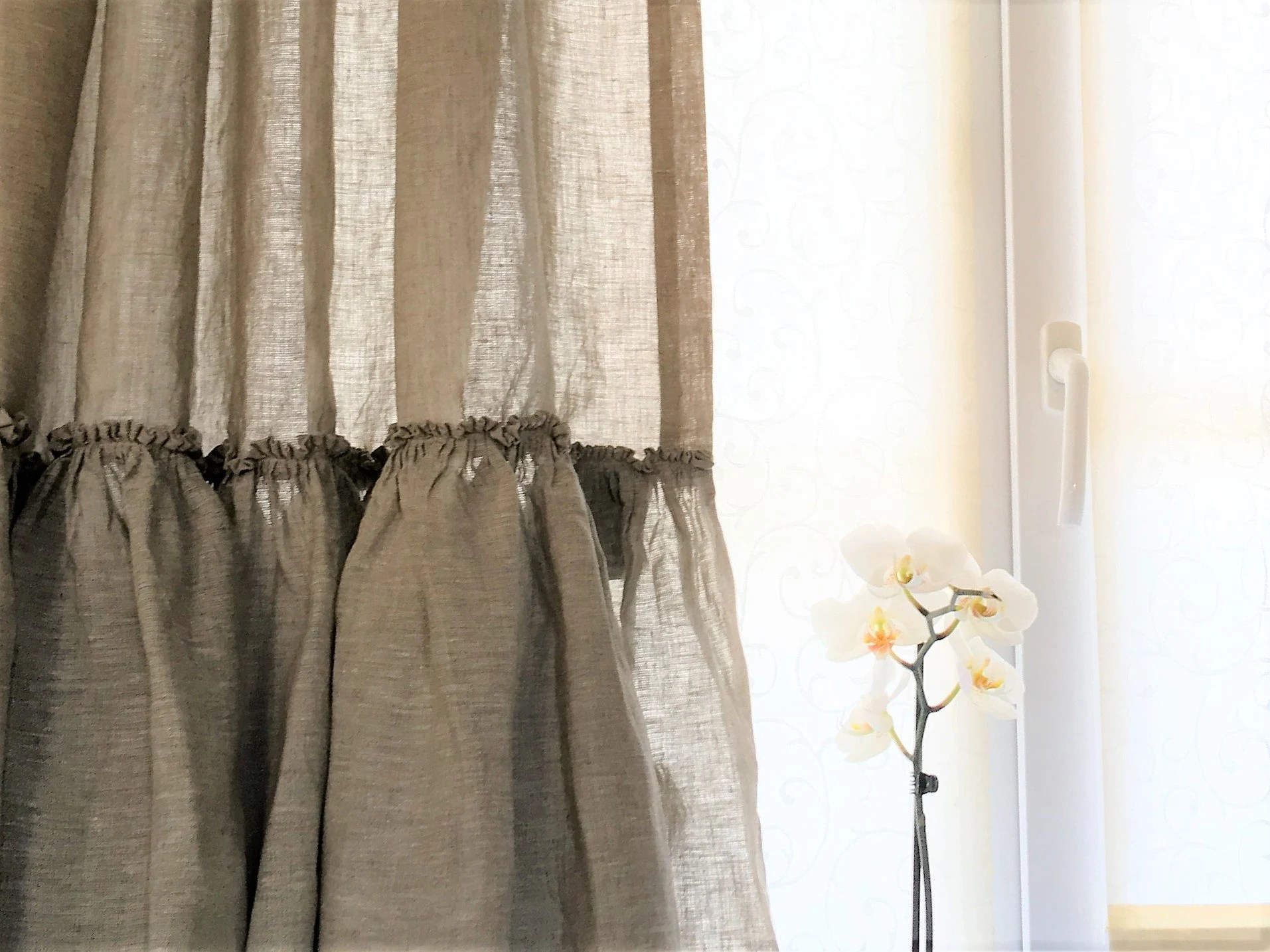 cafe kitchen curtains porcelanosa cabinets luxury 100 linen farmhouse ruffle set etsy shabby chic french frill