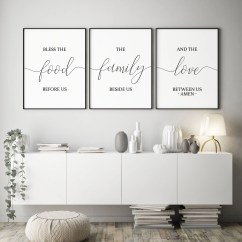 Art For The Kitchen Blanco Sink Wall Etsy Set Of 3 Printable Bless Food Before Us Dining Room Decor Home Signs Bible Verse