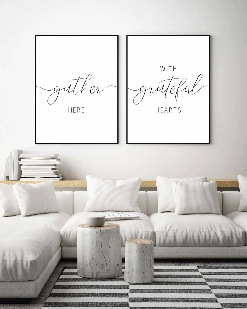 Gather Sign Gather Here With Grateful Hearts Dining Room Wall Art Farmhouse Wall Decor Kitchen Wall Decor Kitchen Signs Thanksgiving Print Art Collectibles Digital Prints Sultraline Id