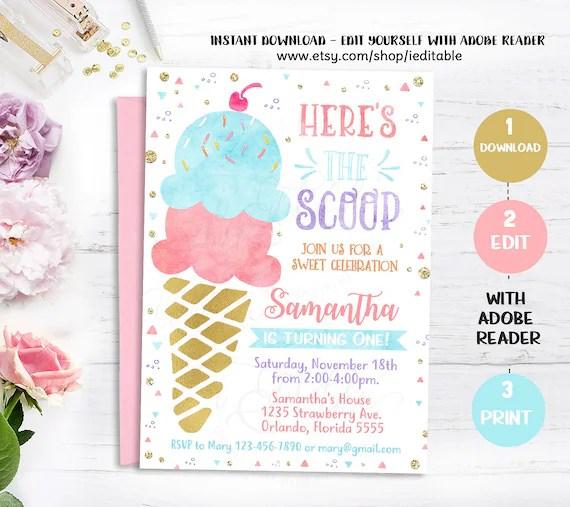 ice cream invitation ice cream birthday invite instant download template ice cream party watercolor girl invitation pink and gold pdf