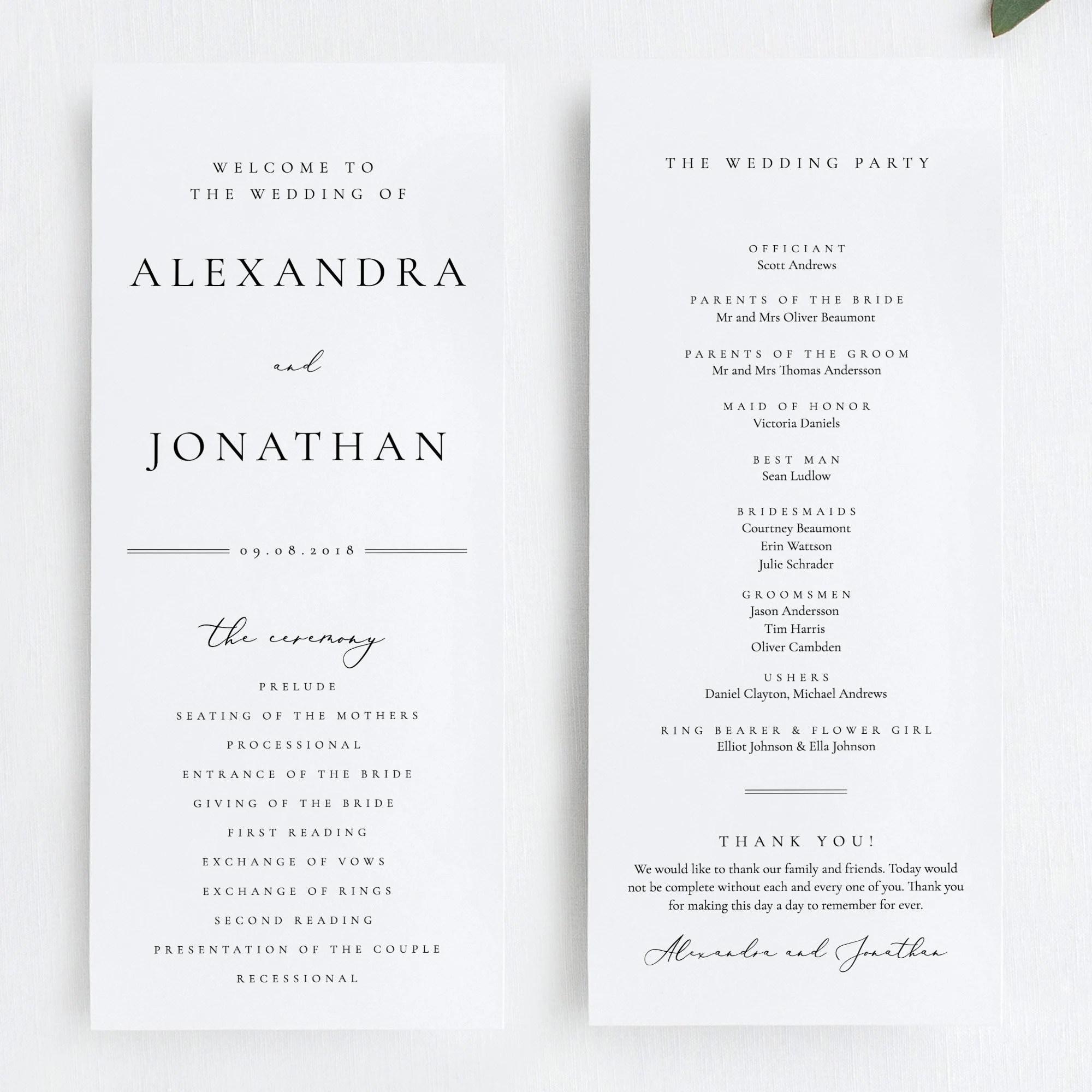 Wedding Ceremony Program Simple program template Elegant