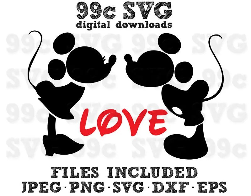 Download Mickey Minnie Kissing in Love Disney SVG DXF Png Vector ...