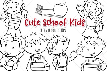 Back to School Kids Black and White Clip Art Collection Cute Etsy