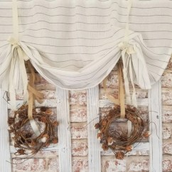 Curtains Kitchen Cabinet Supply Store Valance Etsy Striped Linen Farmhouse Cafe Beige Cottage
