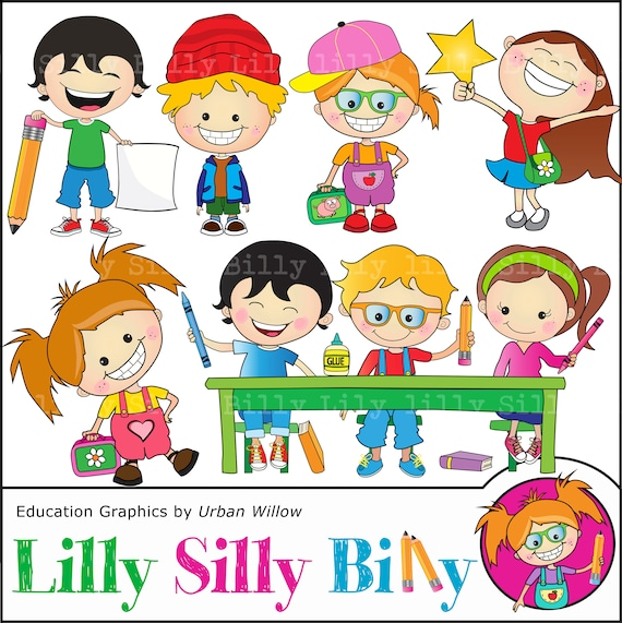 School And Craft Clipart Cute Kids Learning Commercial Use Etsy