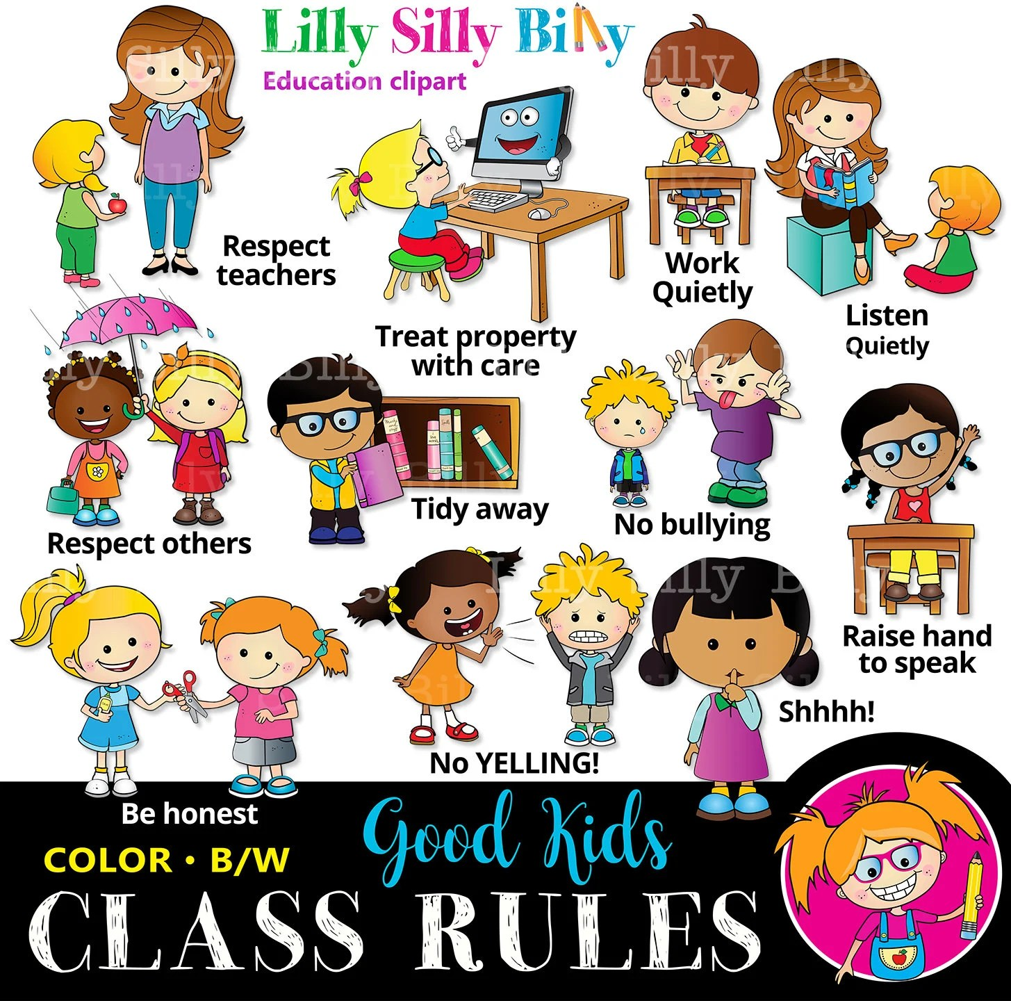 Classroom Rules Black And White And Color Educational