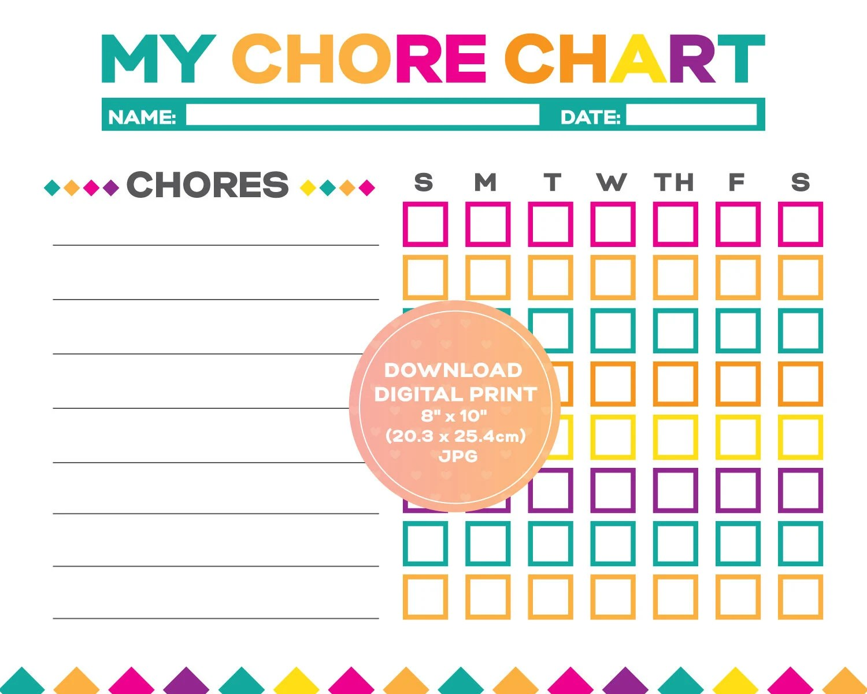 Girl Chore Chart Kids Chore Chart Printable Kids Reward