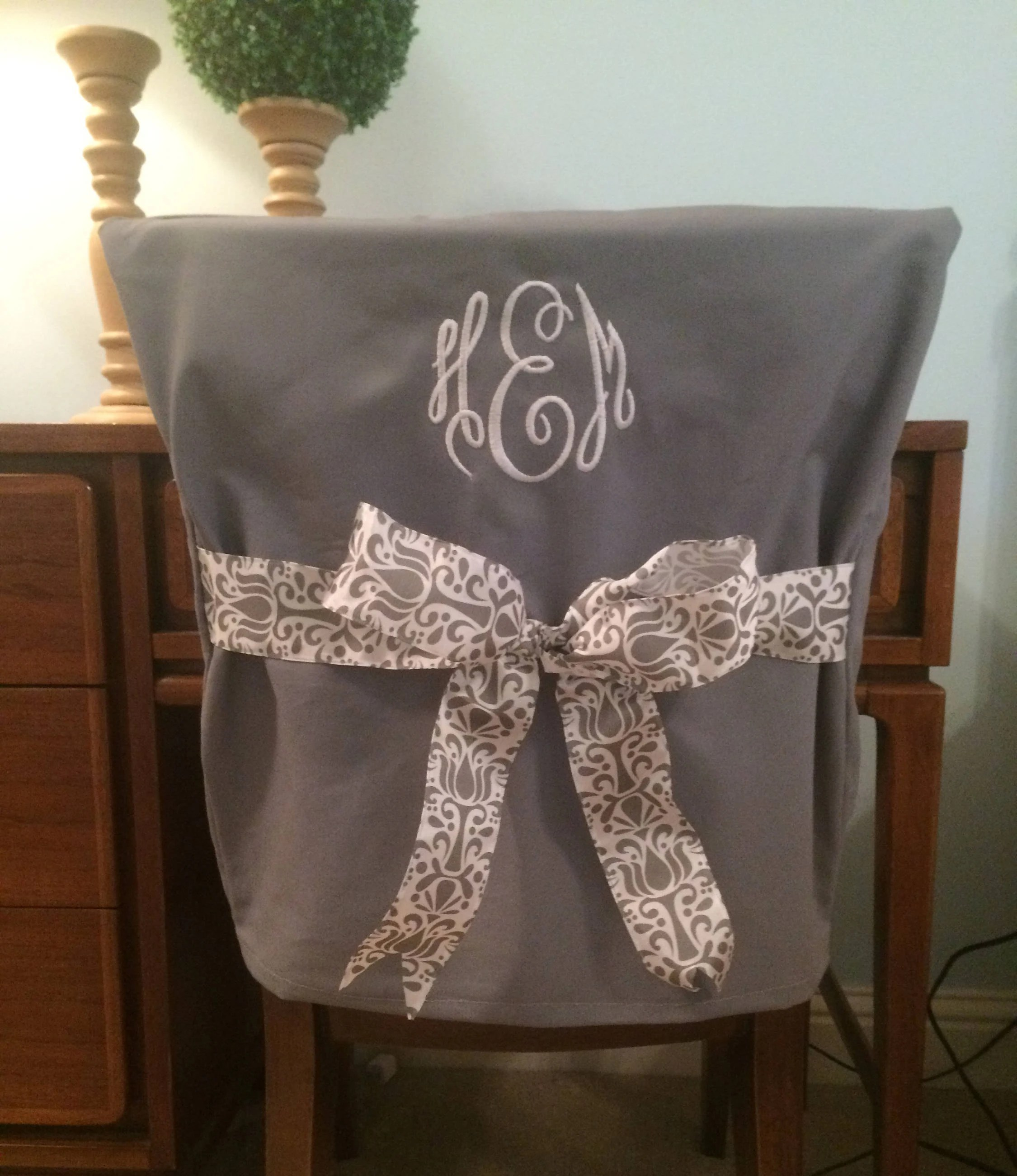 dorm chair covers etsy best big and tall desk chairs cover gray monogrammed back personalized office dining one size fits most