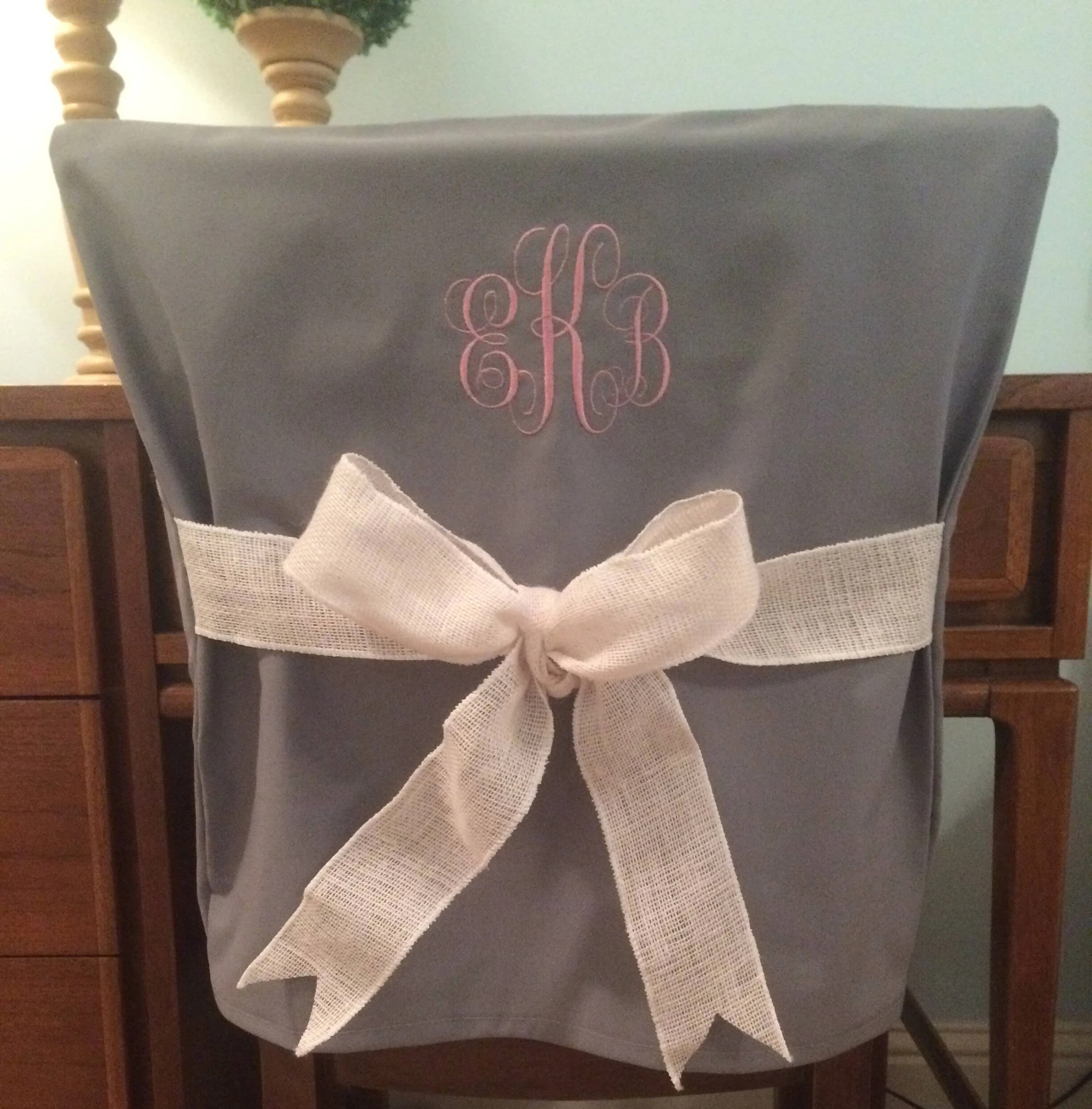 custom dining chair covers australia indoor rocking cushions sets pads etsy gray monogram dorm back cover personalized office slip one size fits most
