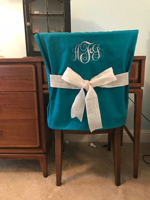 dorm chair covers etsy high that hangs on table desk teal monogrammed back cover image 0