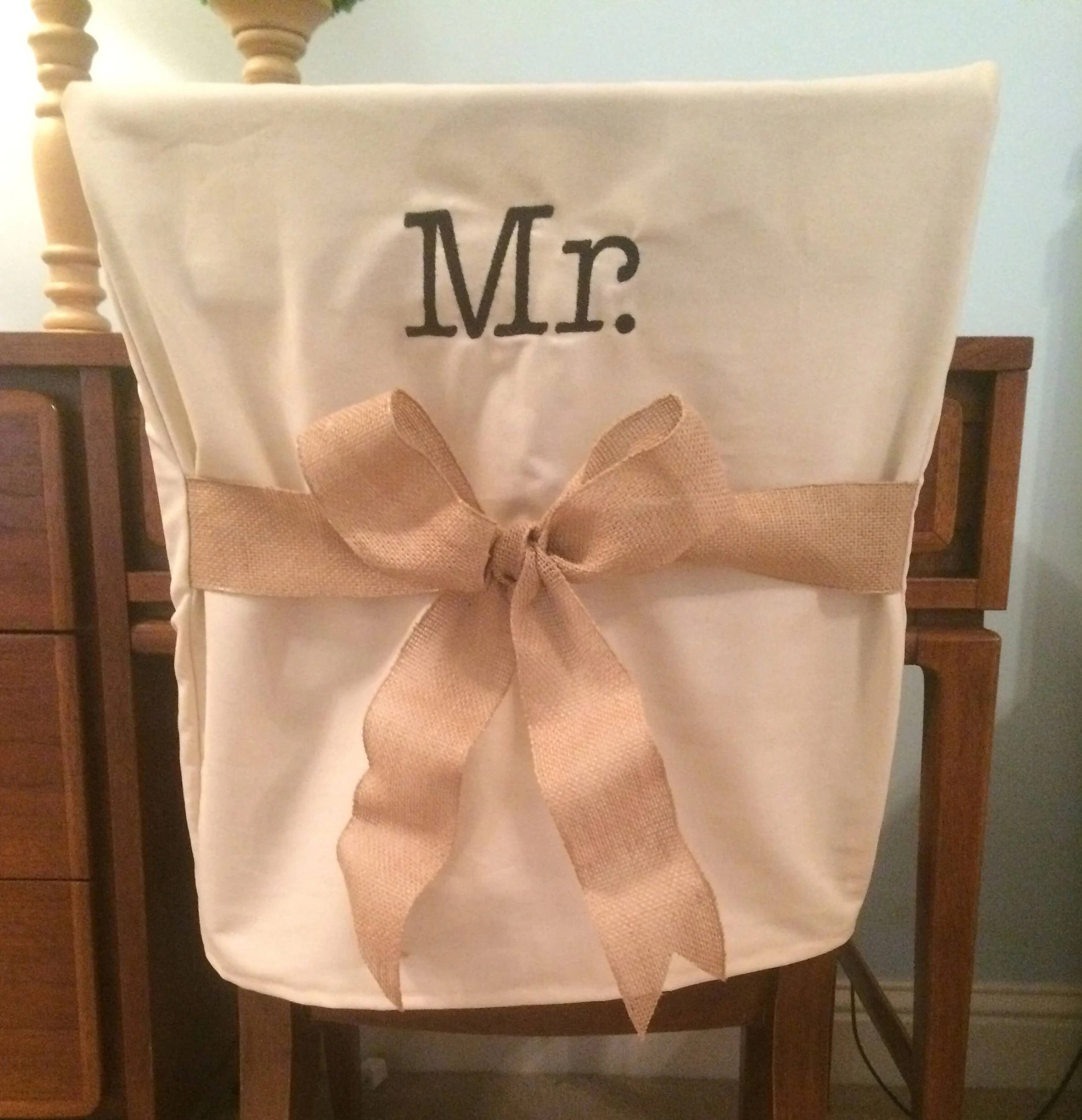 chair back covers wedding ikea faux leather monogrammed mr cover etsy image 0