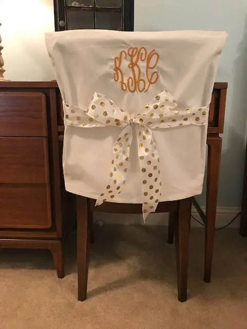 dorm chair covers etsy used massage chairs for sale desk white monogrammed back cover image 0