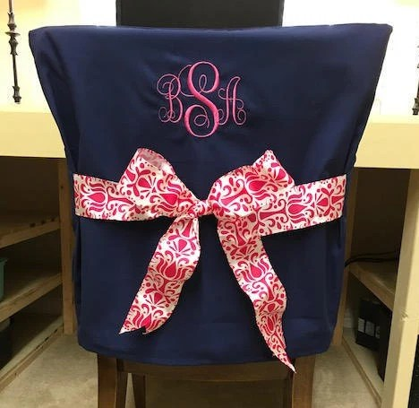 dorm chair covers etsy karma living butterfly desk navy monogrammed back cover image 0