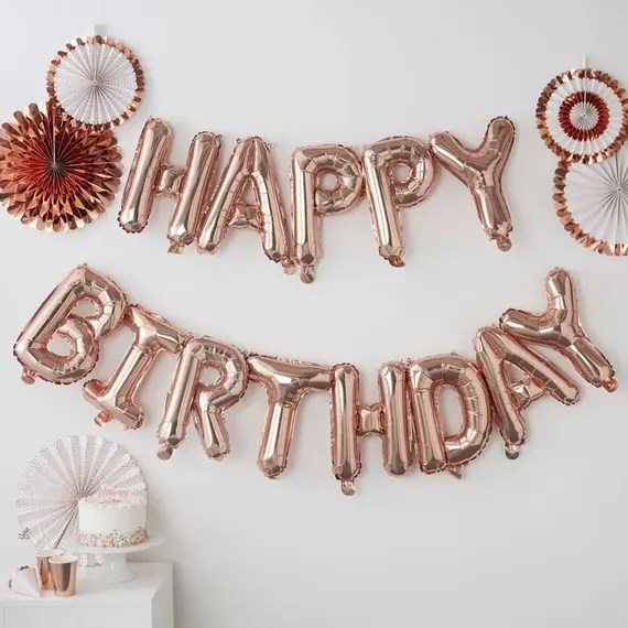Rose Gold Happy Birthday Balloon Bunting