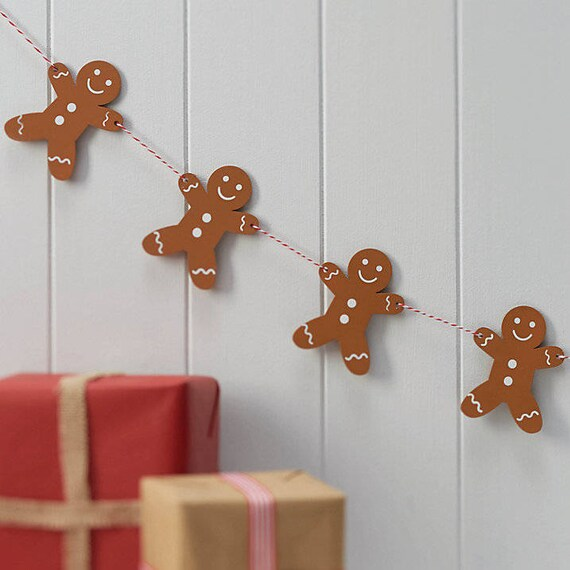 Wooden Gingerbread Men Bunting