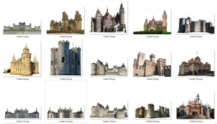 Castles Vol 1 Photoshop Overlay Bundle In PNG Format Castle Princess Fantasy Medieval Ancient Gothic Fairy Magical Royalty