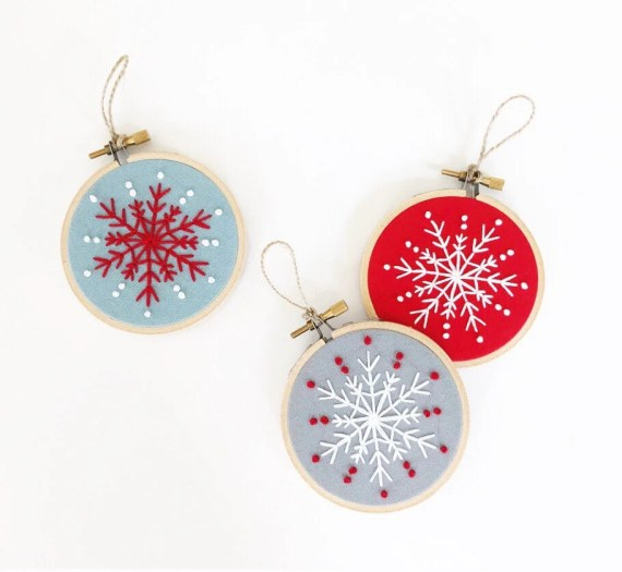 Set of 3 Embroidered Snowflake Ornaments